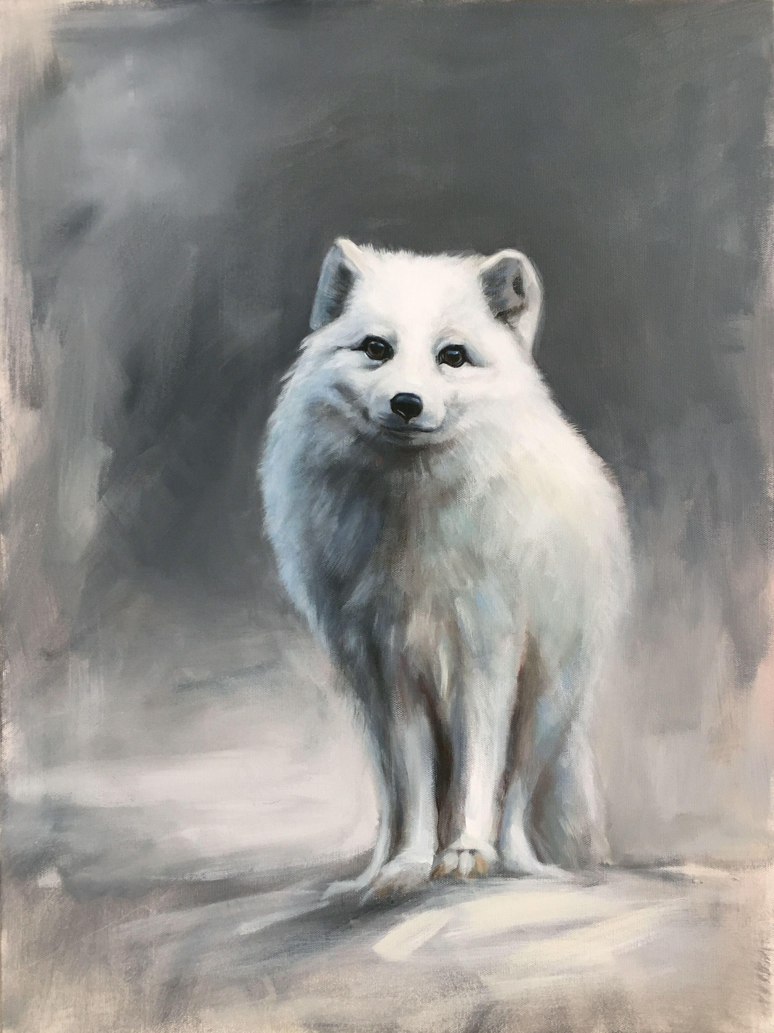 Arctic fox painting by American wildlife artist Aimée ...