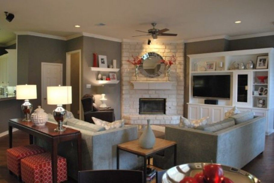 Classic Living Room Furniture Layout With Corner Fireplace Design