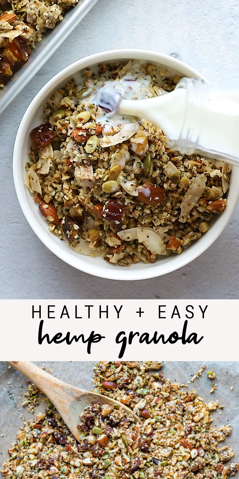 This crunchy hemp granola packs a nutritional punch with a variety of nuts and seeds. It's grain-free, vegan and sweetened only with maple syrup and dates.  #grainfree #lowcarb #maplesyrup #hemp #hempgranola #healthygranola #vegan #eatingbirdfood