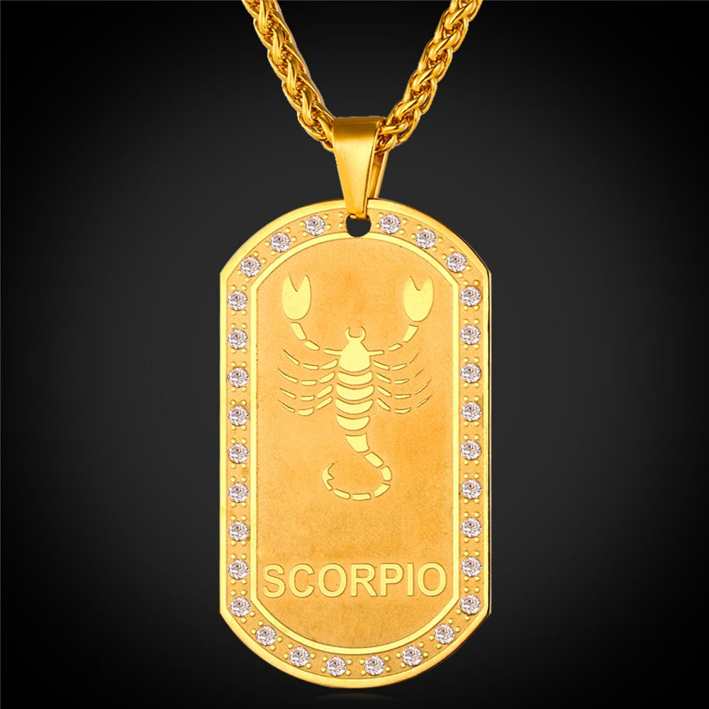 Collare twelve zodiac signs pendant dog tag accessories stainless