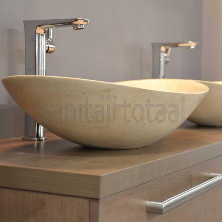 verhoogde wastafelkraan badkamer wastafel design kranen messing