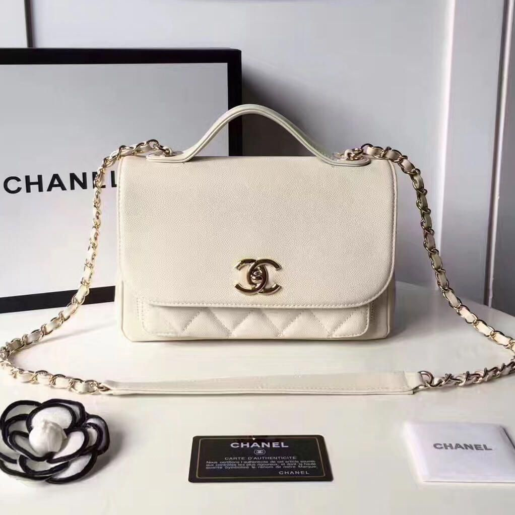 7372c0139df0 Chanel Grained Calfskin Business Affinity Medium Top Handle Bag A93607  White 2017 #WomensShoulderbags #chanelbags2017