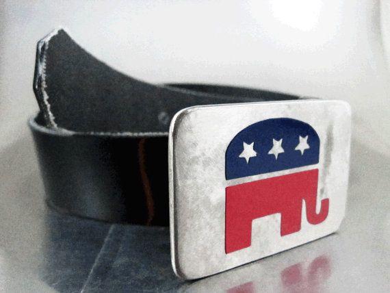 Republican Elephant Belt Buckle by RhythmicMetal on Etsy, $50.00
