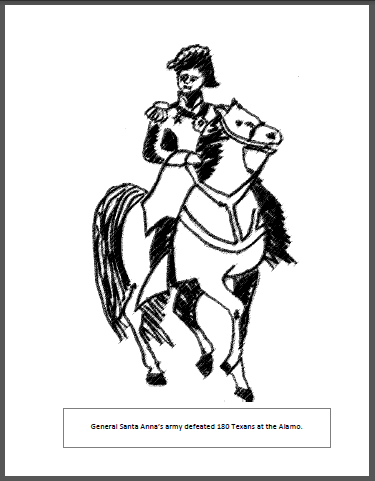 free coloring page from teachtexashistorycom santa anna at the battle of the alamo