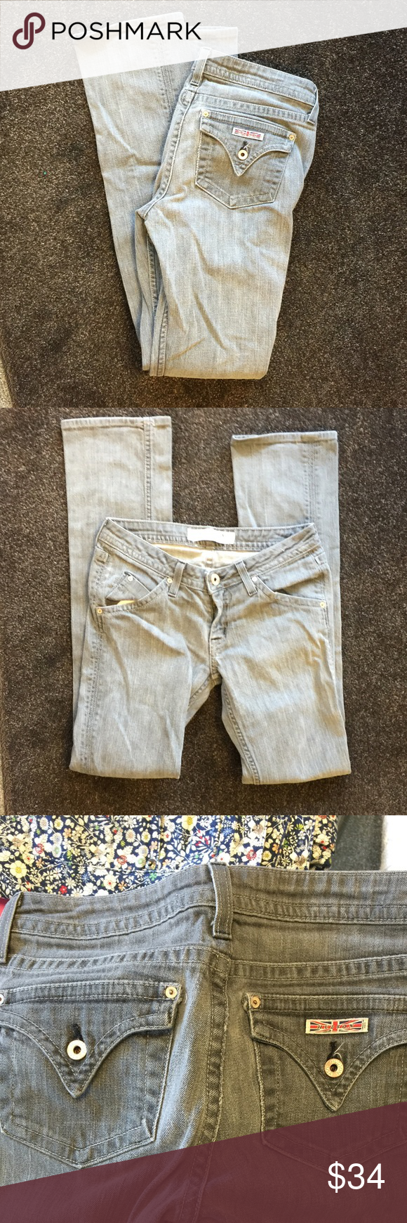 """Hudson Light Gray wash denim Jean VGUC. No major rips, stains or tears. Straight leg fit. 2% stretch waist 28"""" Hudson Jeans Jeans Straight Leg"""