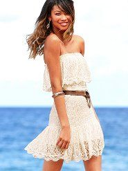 Victoria's Secret Strapless Lace Dress -- so cute for summer