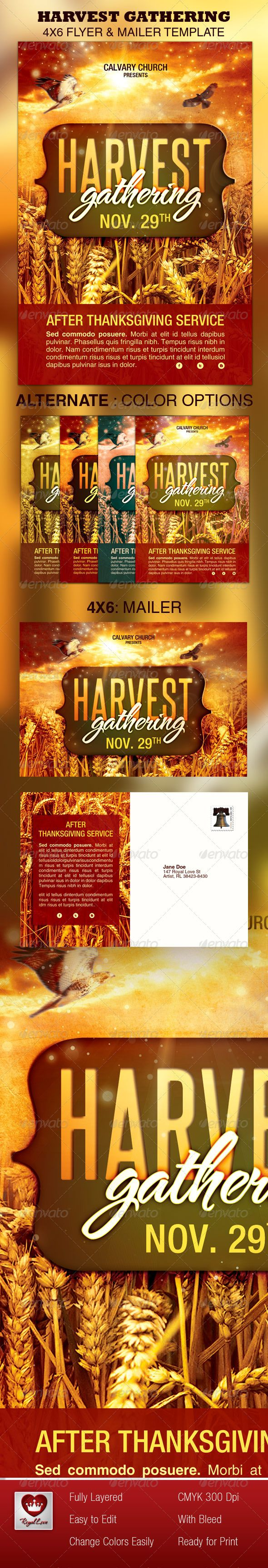 Harvest Gathering Church Flyer  Mailer Template Creative Designs