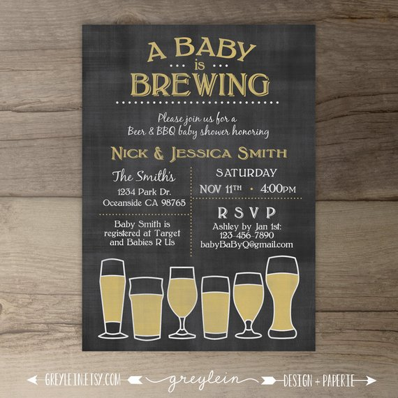 Baby Is Brewing Babyq Shower Invitation Guy Friendly Co Ed Bbq Printable Invita