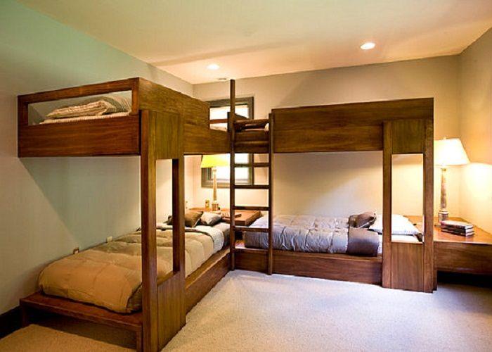 Fabulous Wood Corner Loft Bed For