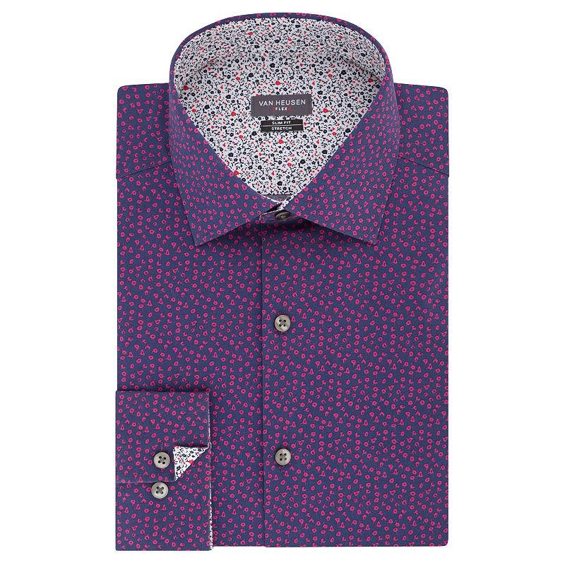 43cf090d9ec6 Van Heusen Vh Flex Slim Stretch Long Sleeve Broadcloth Pattern Dress Shirt
