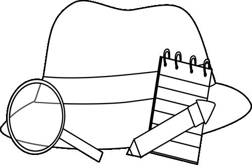Black And White Detective Supplies Clip Art