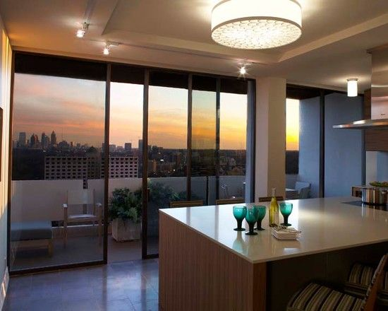 Charming Awesome Penthouse Interior Decoration With The Best Design: Elegant Atlanta Penthouse  Kitchen With View Glass Idea