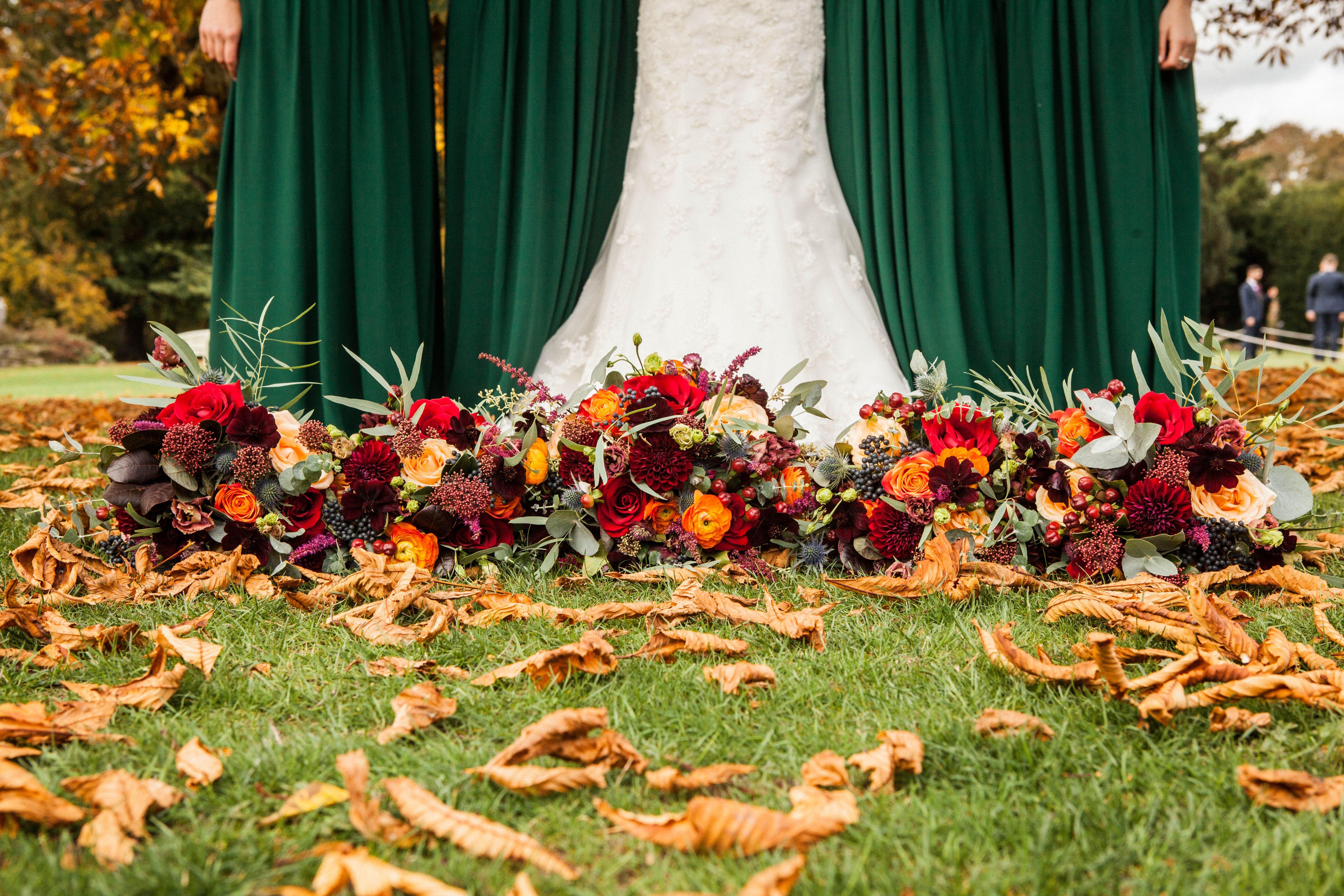 Rustic Autumn Wedding Bridal Bridesmaid Bouquet Flowers Forest