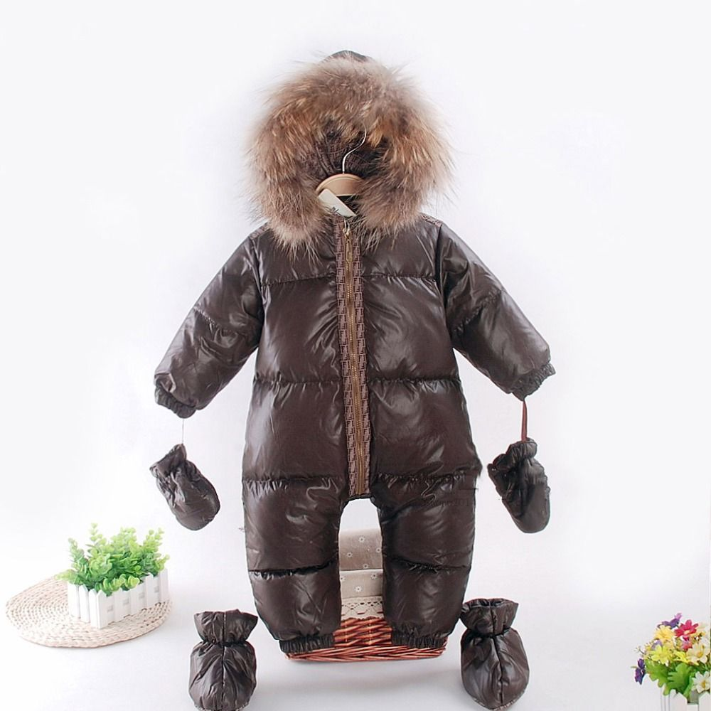 e53750868 Russian winter baby snowsuit duck down jacket natural raccon fur ...