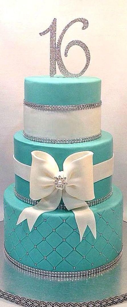 Tiffany Blue Sweet 16 Cake With Images Sweet 16 Birthday Cake