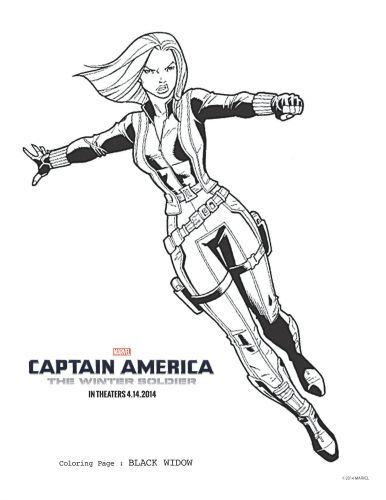 Captain America The Winter Soldier Black Widow Coloring Page
