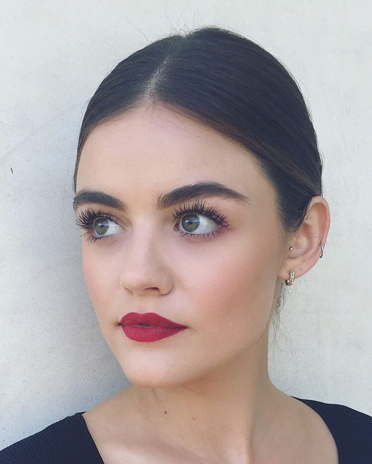 Lucy Hales makeup looks flawless! We are loving that bold lip color! | Pretty Little Liars Hair Makeup #style #shopping #styles #outfit #pretty #girl #girls #beauty #beautiful #me #cute #stylish #photooftheday #swag #dress #shoes #diy #design #fashion #Makeup