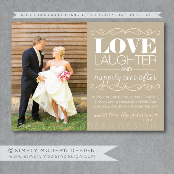 Sample Thank You Cards For Wedding Gifts: Modern Wedding Thank You Card, Guest Thank You, Thank You
