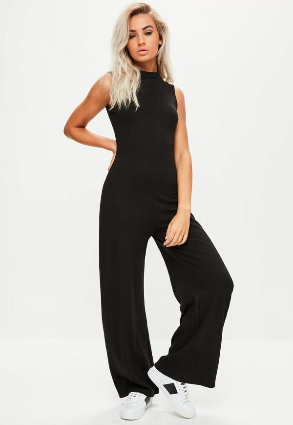 d66a3025518c Black High Neck Sleeveless Jumpsuit