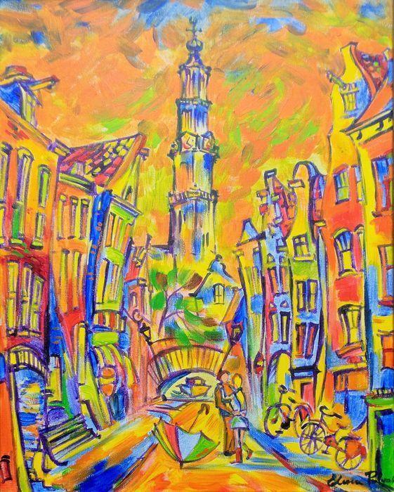 Westerkerk Amsterdam - olieverf op doek - Elena Polyakova (1970- )