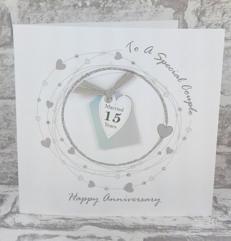 15th wedding anniversary card crystal anniversary