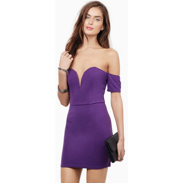 Tobi Without A Care Dress (41 CAD) ❤ liked on Polyvore featuring dresses, plum, sweetheart neckline dress, body conscious dress, off shoulder dress, purple sweetheart dress and sweetheart dress