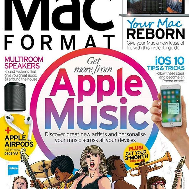 Apple Stars! An energetic cover & inside editorial article for @macformatuk  #Magazine illustrated by @fionna.fernandes #editorial #Pop #cover #playful #musicians #publishing http://ow.ly/RiT0308X0ij