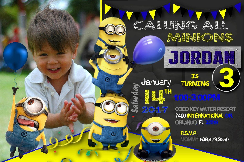 Minion Invitation Minion Birthday Invitation Minion Birthday Party Invitations Minions 1st Bi Minion Birthday Minion Birthday Party Minion Birthday Invitations
