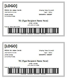 shipping label templates word