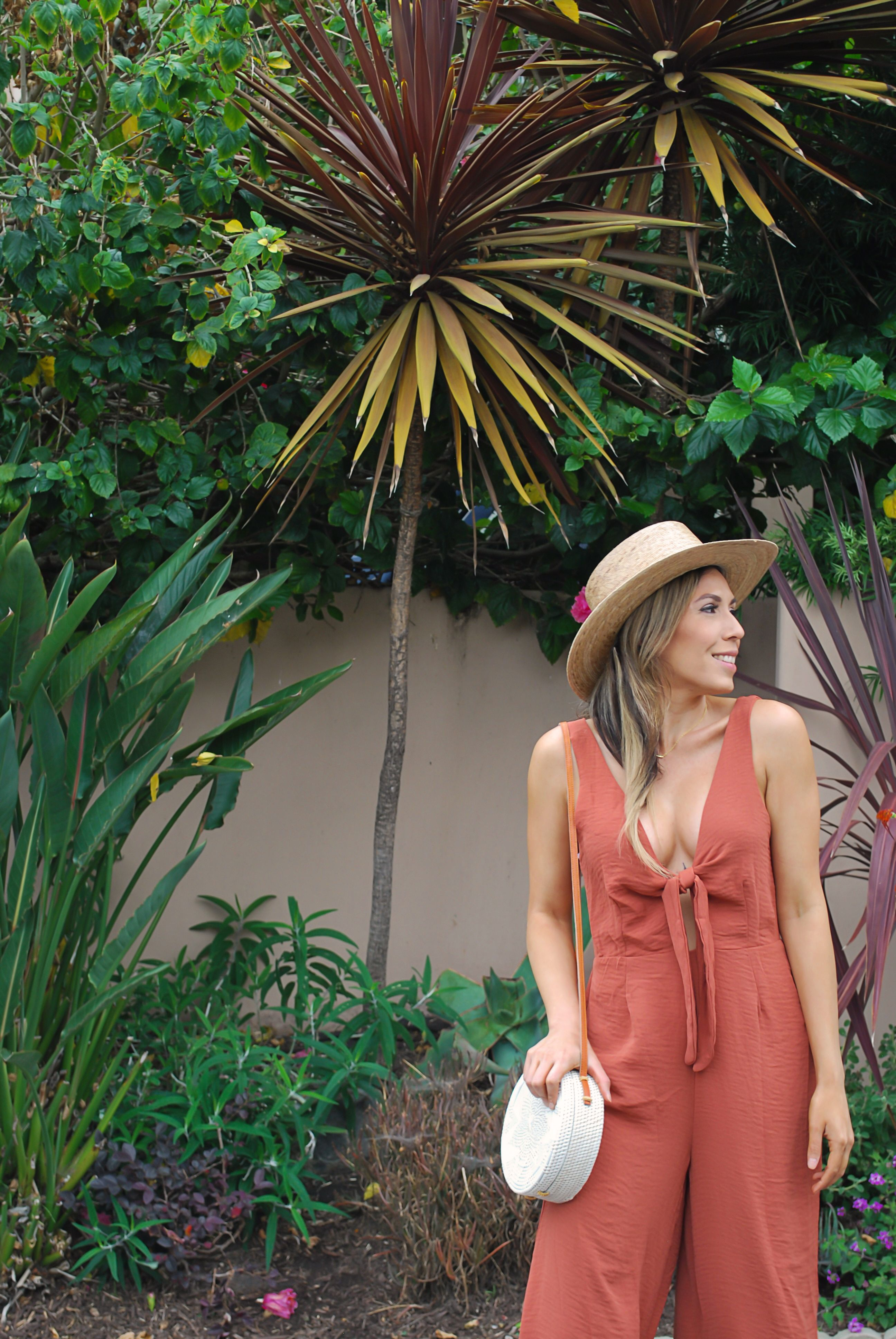 507e6d837ee6 Somedays Lovin Rust Romper with Bow Tie Front on Fashion Blogger The Great  Gabs