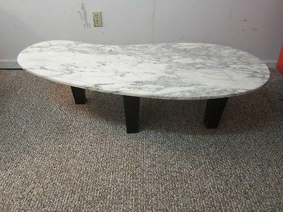 Mid century danish modern kidney shaped marble coffee table nice
