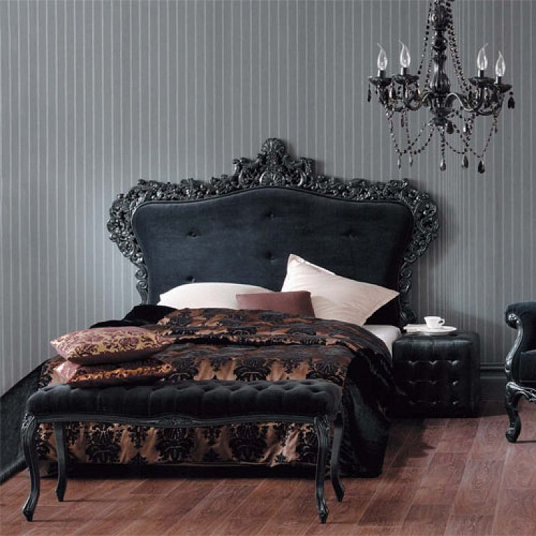 Minimalist Gray Color Themed Gothic Bedroom Design With Elegant Black Headboard And Wooden Floor Ideas Also Luxury Chandelier Lighting For