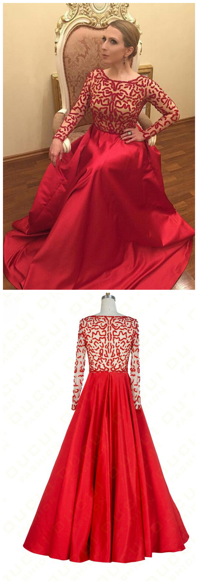 Charming prom dress long sleeve evening dress a line red evening