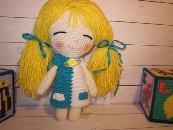 Amigurumi Chibi Doll : Little chibi doll amigurumi doll crochet doll smiling doll