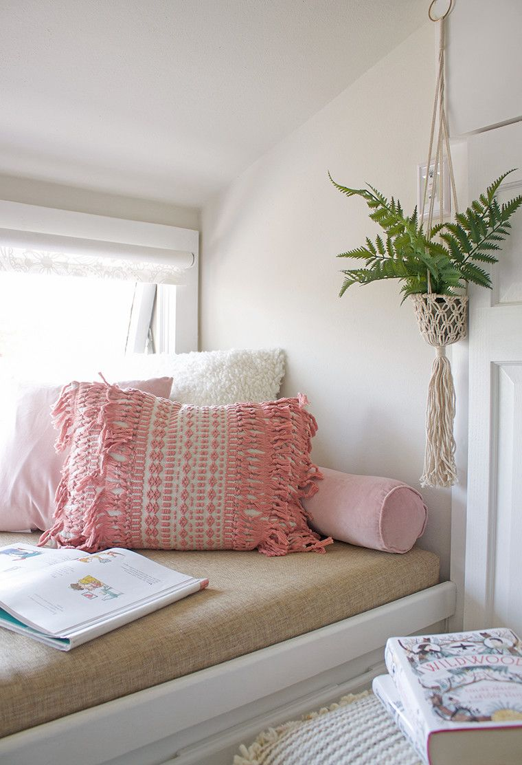 Outfitting a blush pink reading nook with WorldMarket's