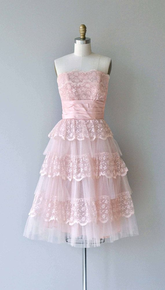 63cdb8ddba8 Vintage 1950s petal pink lace party dress with strapless tiered bodice