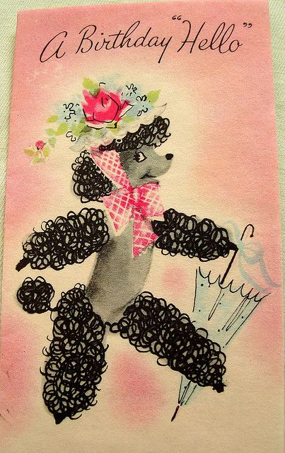 Poodle birthday hello card poodle vintage cards and birthdays poodle birthday hello card bookmarktalkfo Gallery