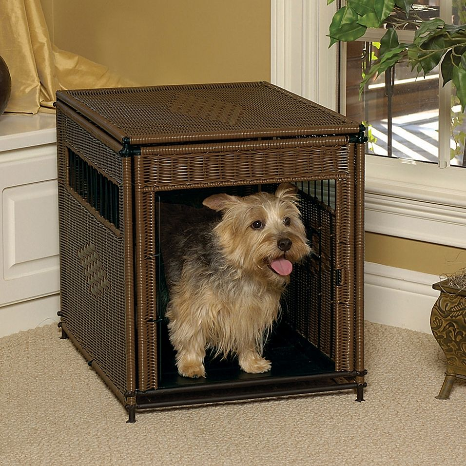 Wicker Small Pet Residence In Dark Brown Decorative dog