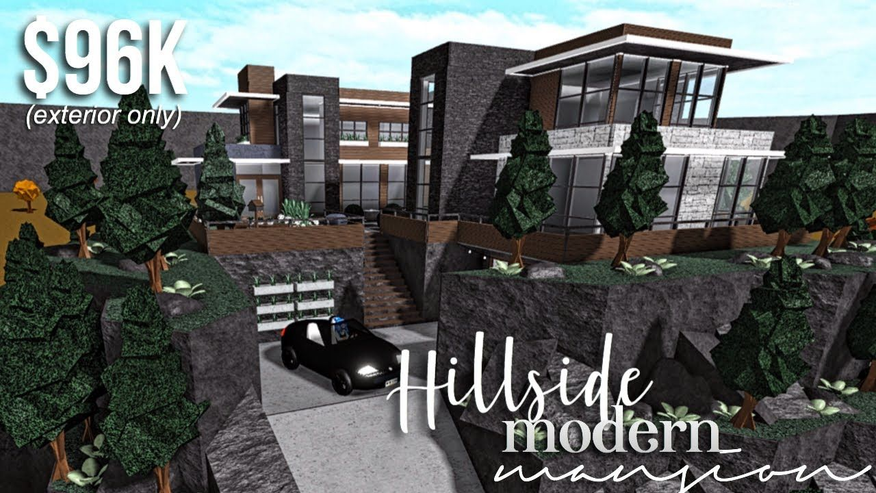 Hillside Modern Mansion Part1 Exterior Roblox Bloxburg