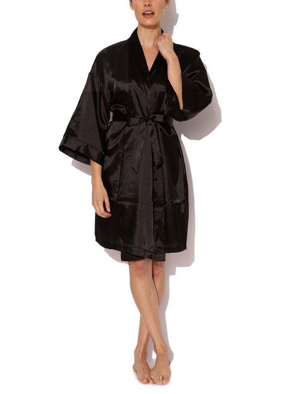 Black Simple Kimono Satin Robe 3/4 Length Spring Autumn by Phialli ...