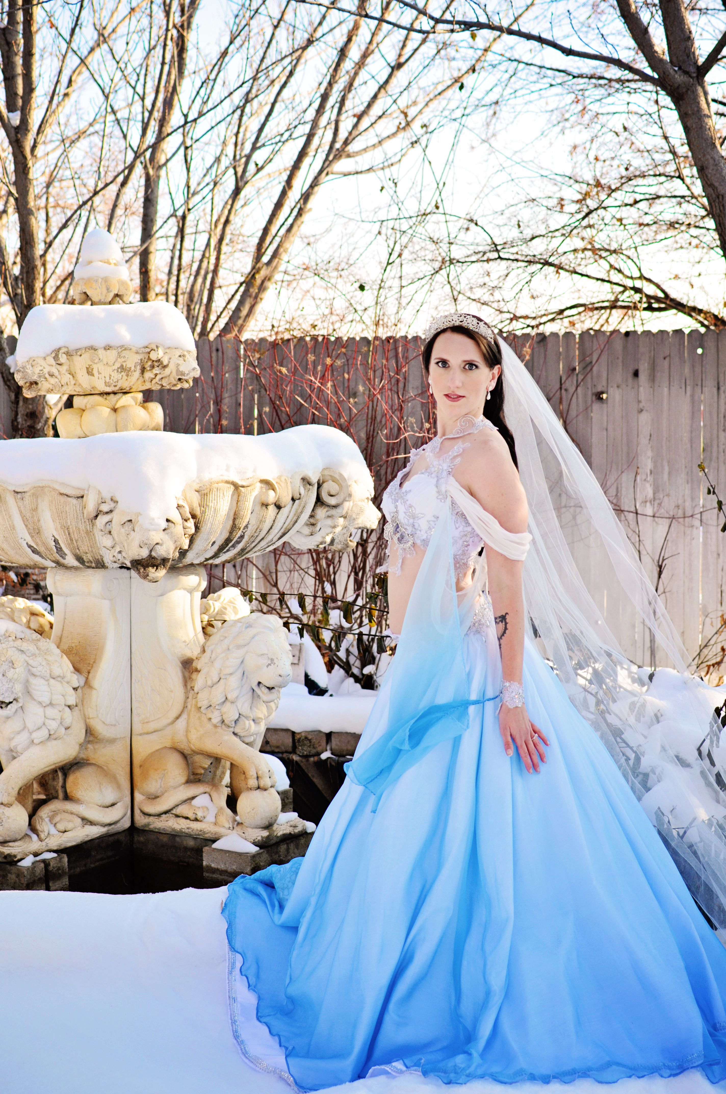 Winter Fantasy Blue Wedding Dress Belly Dance Wedding Blue Dress