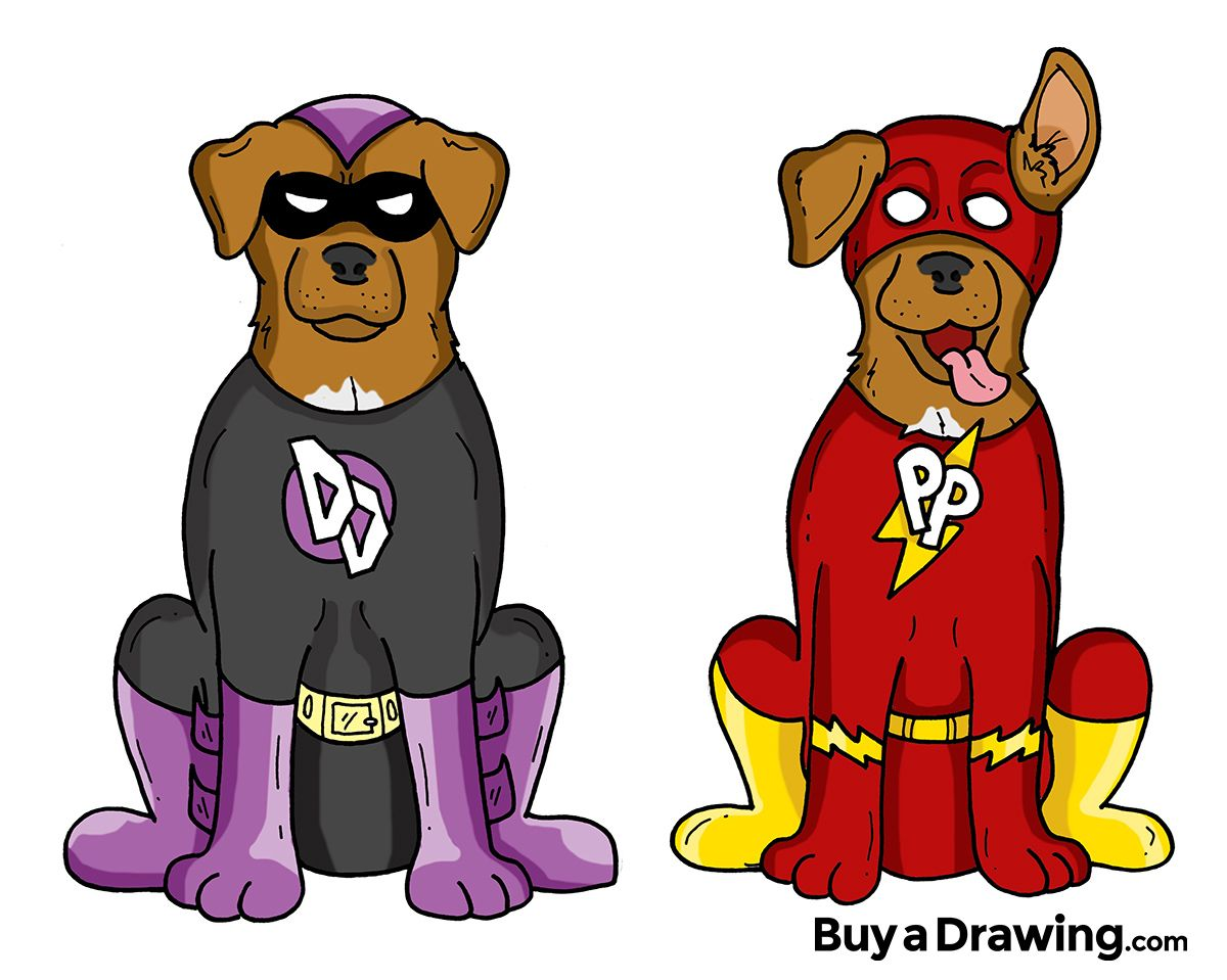 Custom Cartoon Drawing And Stickers Of Dog Superheroes Cartoon Drawings Cartoon Custom Cartoons