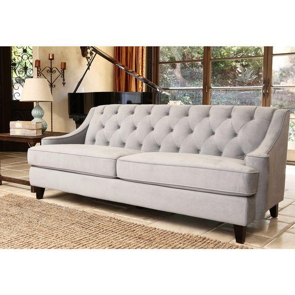 abbyson living claridge steel blue velvet fabric tufted sofa by abbyson - Grey Tufted Sofa