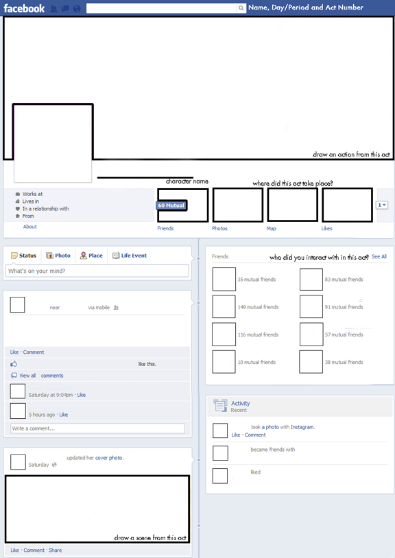 Great Facebook template for book reports! http://freeology.com ...