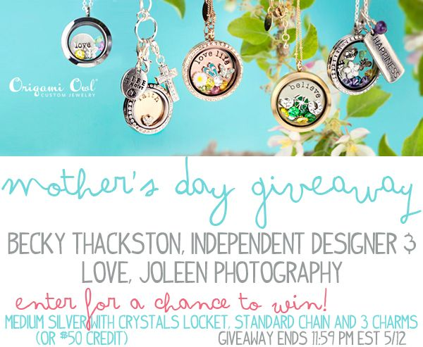 Origami Owl Mother's Day GIVEAWAY via Love, Joleen Photography #lovejoleenphotography #giveaway #origamiowl #mothersday