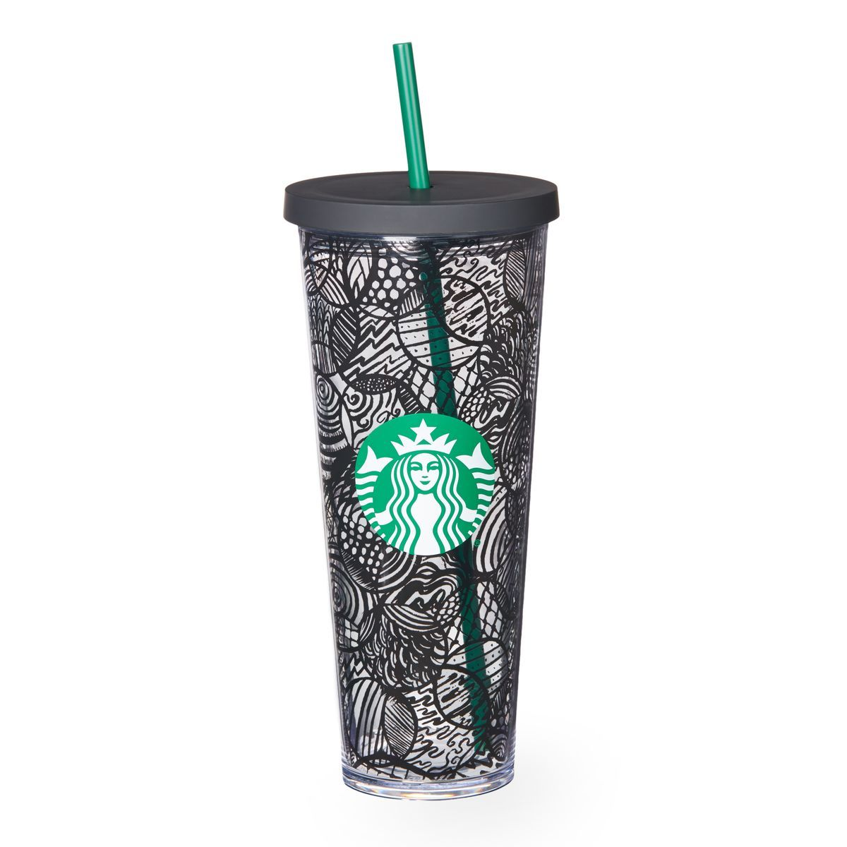 1c40f2bdc7b A sturdy, Venti-size clear plastic Cold Cup with double wall construction,  black line design and reusable straw.