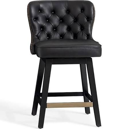Caldwell Tufted Swivel Barstool Counter Height Black Leather At Pottery Barn Furniture Bar Counter Stools Tufted Leather Bar Stools Leather Bar Stools