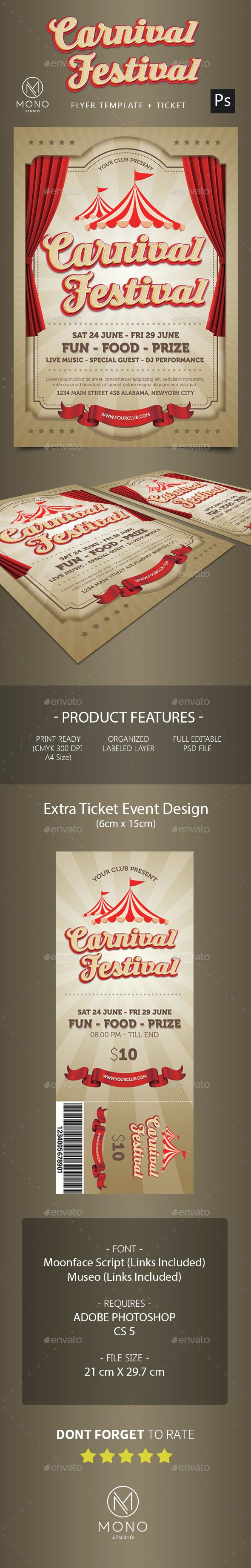 carnival festival flyer graphics flyer template and event flyers