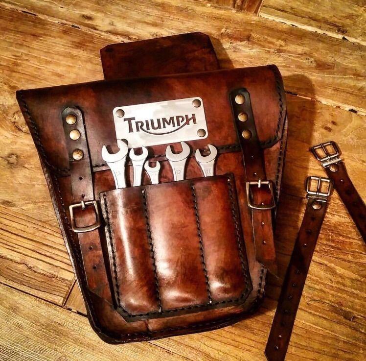 274bb39139d Triumph Bonneville scrambler Leather side saddle Bag | eBay Motors, Parts &  Accessories, Motorcycle Parts | eBay!