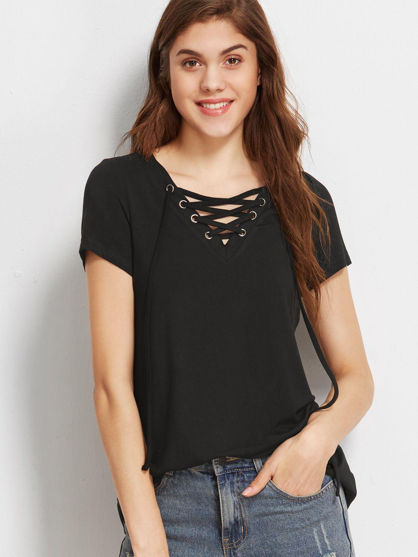 7e1059d707 Shop Black Lace Up V Neck T-shirt online. SheIn offers Black Lace Up V Neck  T-shirt & more to fit your fashionable needs.